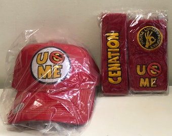 John Cena Hat, Headband & Wrist Bands; U (can't) C Me; Cenation; Official Red WWE Merch; You Can't See Me