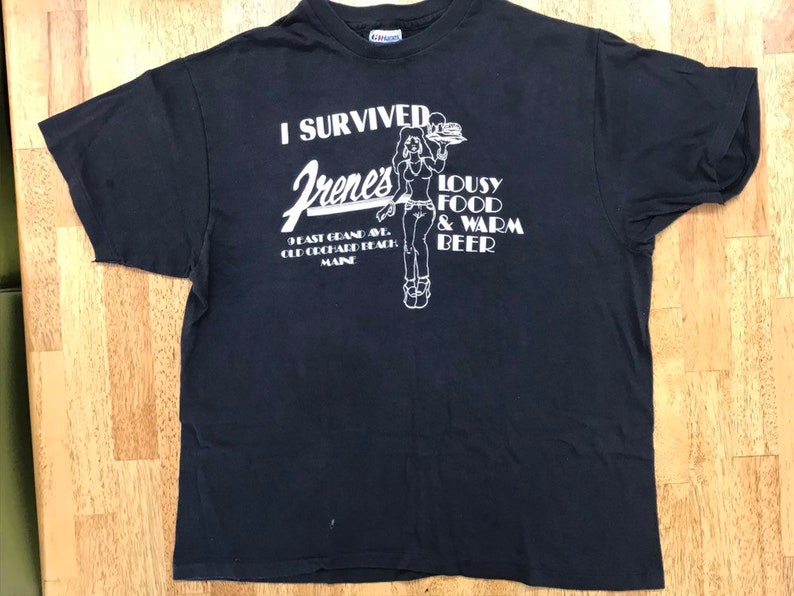 36cf5ad7bf920 Vintage Black T Shirt - I Survived Irene's Lousy Food & Warm Beer Old  Orchard Beach ME