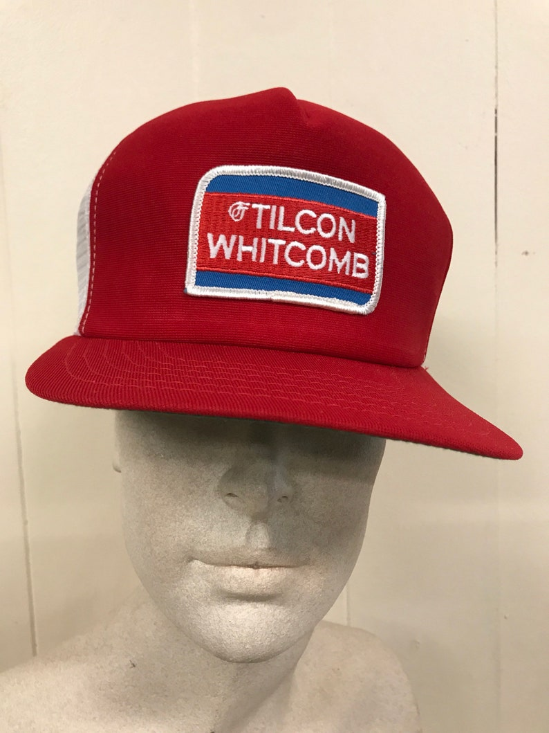 42fcf3ce0ef Vintage Trucker Hat Patch   Tilcon Whitcomb Red White Mesh