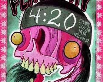 Arts, tattoo, 420, weed, skull, fine art, prints, flash day, Montréal