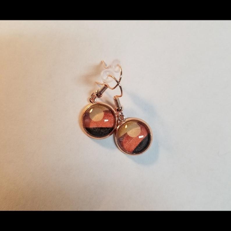 Rose GoldNeutral Minimalist Boho SunLandscape Dangly Cabochon Earrings