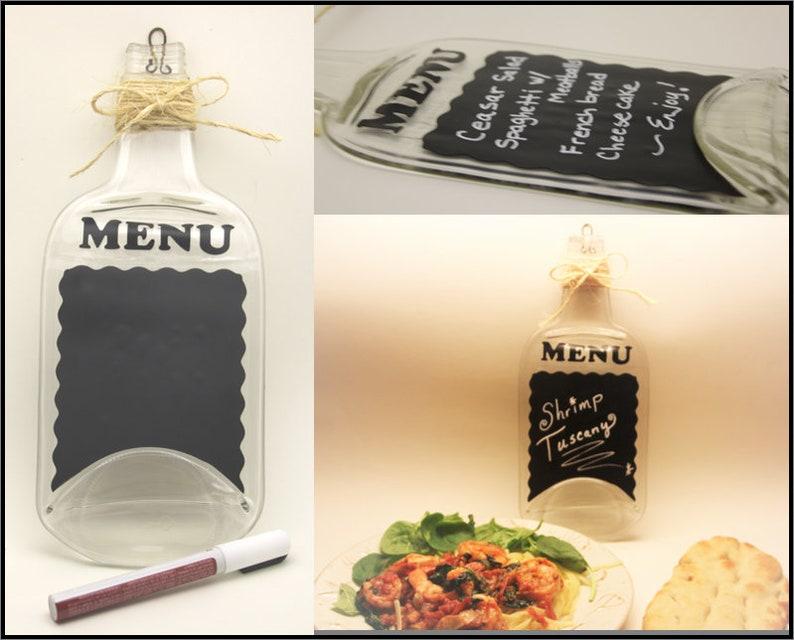 Chalkboard menu on flattened glass bottle  farmhouse style  image 0