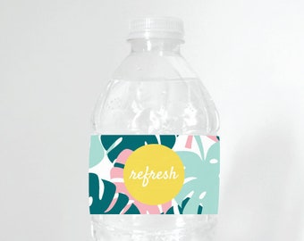 Palms Water Bottle Label, Printable, Ready-to-print