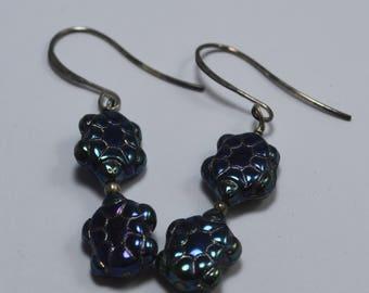 Turtle Earrings, Sterling Silver, Glass Beads, Dangle