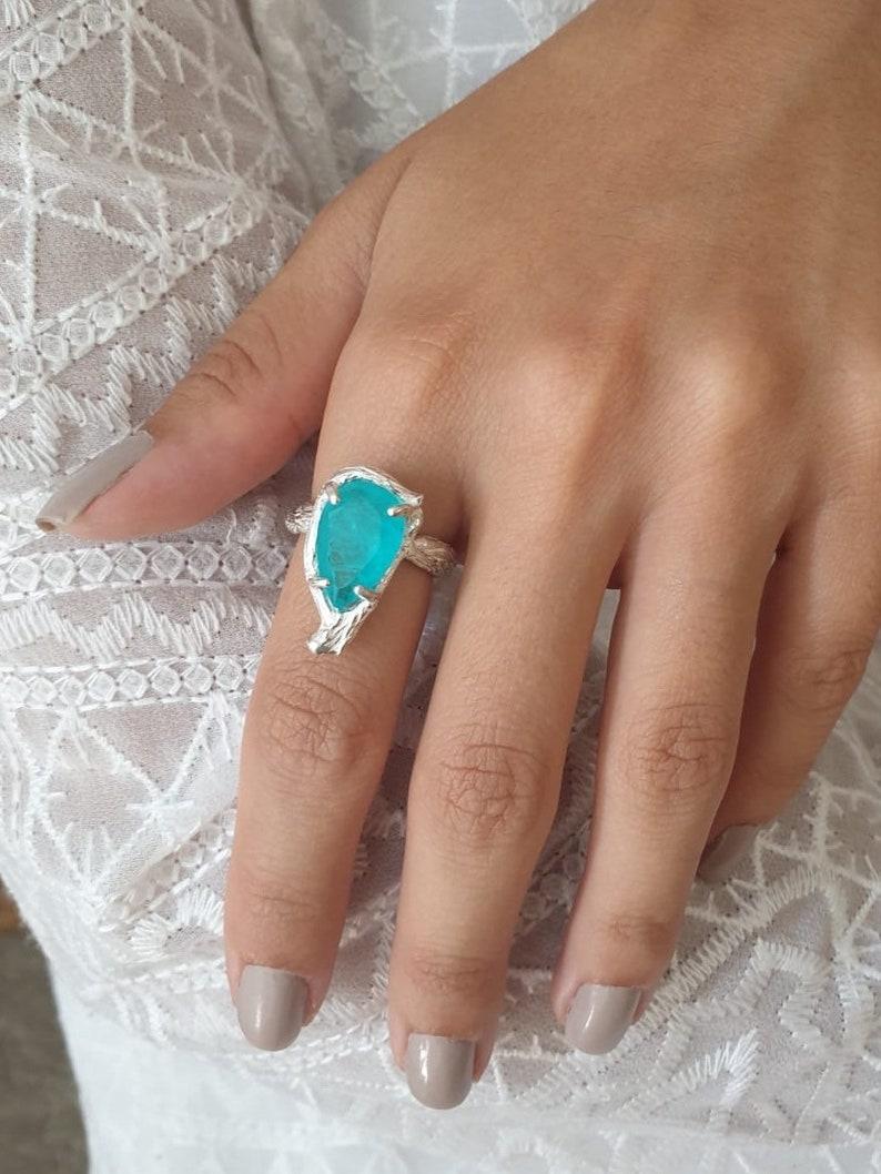 pear shaped ring gemstone ring Tourmaline paraiba ring silver ring for women Celeste gemstone ring size 7 ring big stone ring