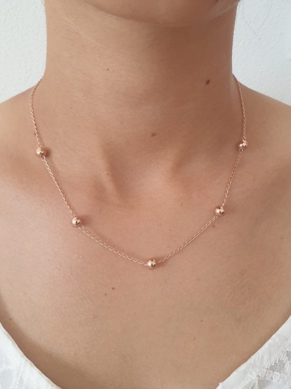 Rose Gold Necklace Ball Necklace Vintage Ball Necklace Etsy