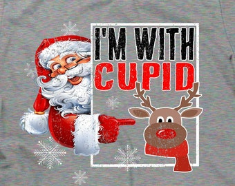 0758937bef8e santa shirt santa claus t-shirt funny christmas tees I'm with cupid xmas  tshirt for guys women holiday t shirt for reindeer sleigh coworker