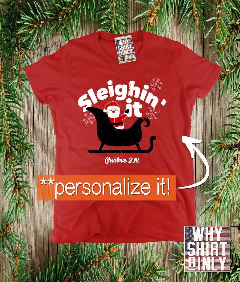 33de62ef65 Christmas t-shirt personalized santa shirt custom xmas tees   Etsy