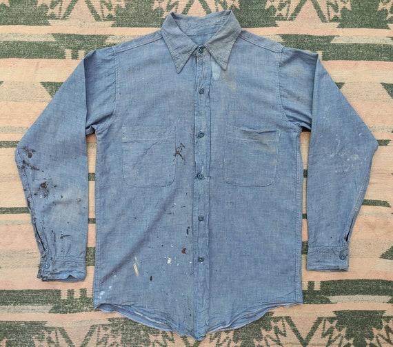 1940's Thrashed Chambray Shirt XS S Small M Medium