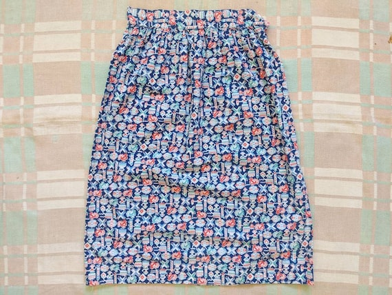 1930's Feedsack Skirt M Medium 28 27 Waist Vintage