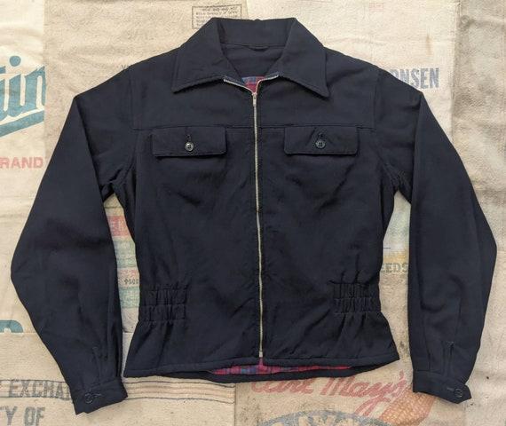 1930's Zip Up Gabardine Jacket M Medium S Small Vi