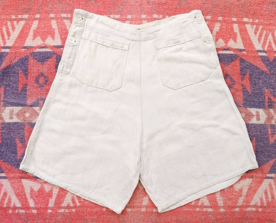 1930's French Linen Shorts 27 28 Waist M Medium Vi