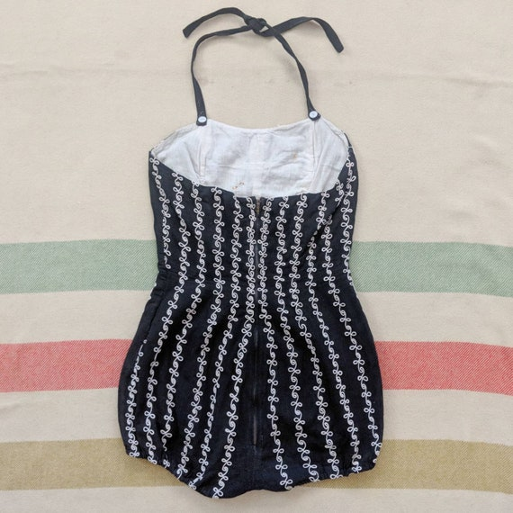 1940's Embroidered Swimsuit S Small Telephone Cor… - image 4