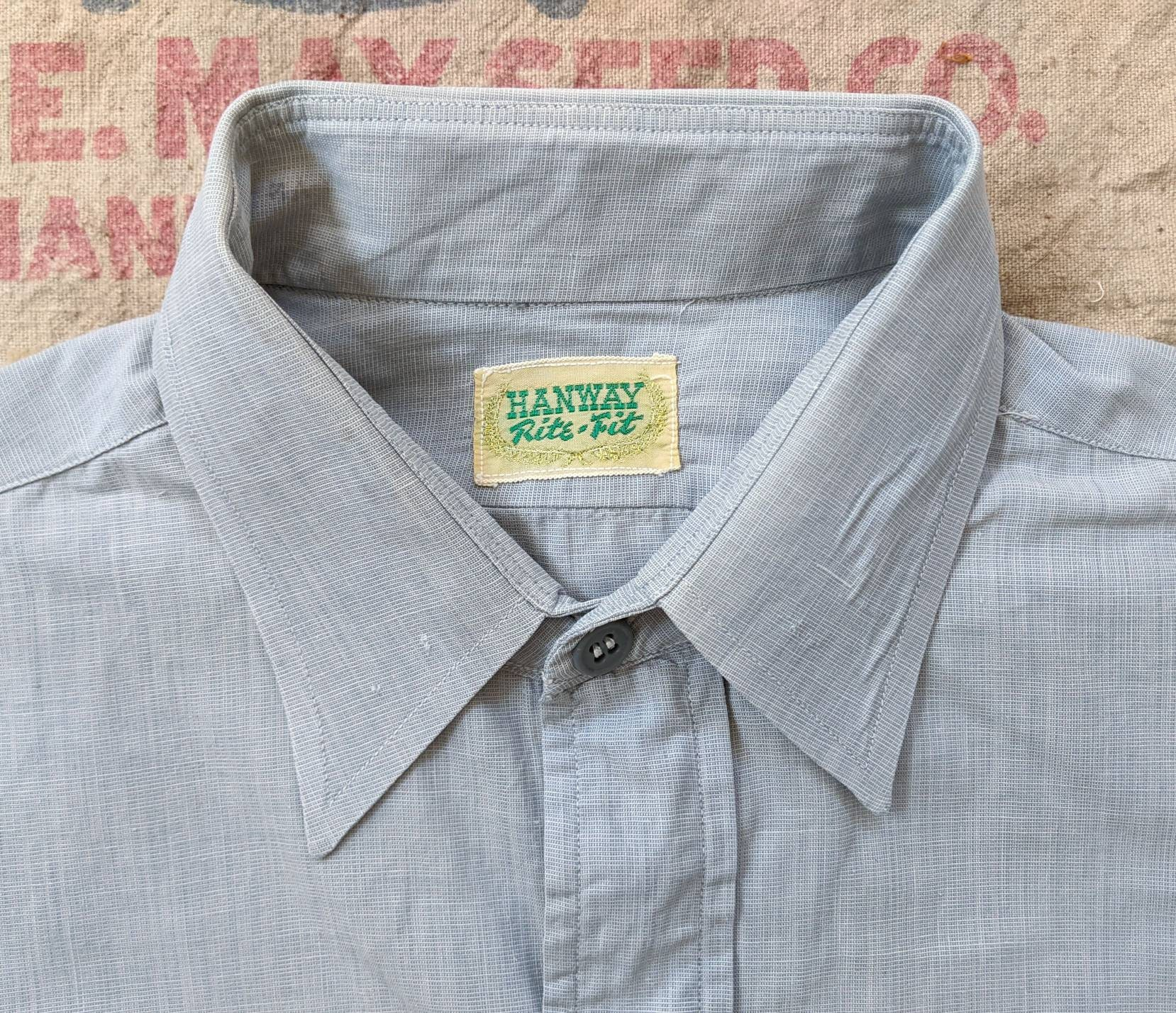 1940s Men's Shirts, Sweaters, Vests 1940s Salt  Pepper Chambray Shirt S Small Vintage 1940S Cotton Hanway Dress Casual Workwear Work 40S Long Sleeve 40s 50S $0.00 AT vintagedancer.com