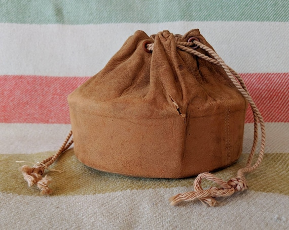 Antique Leather Collar Bag Small Soft Suede Purse