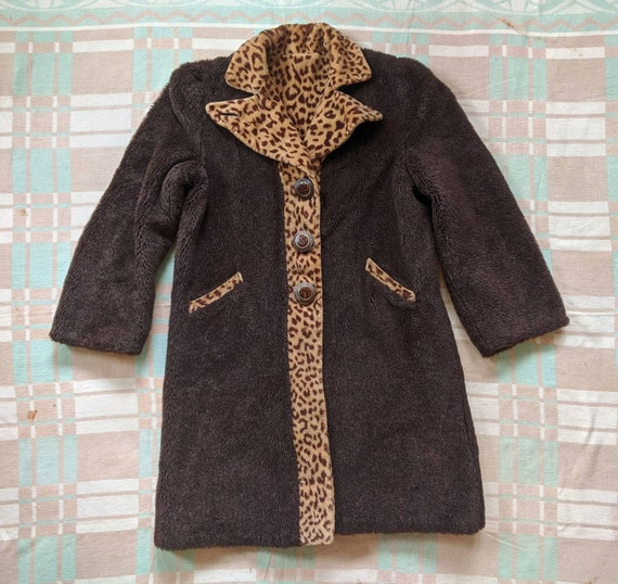 Late 1930's Early 1940's Mohair Leopard Print Coat