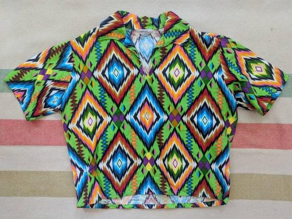 1950's Bright Print Aloha Shirt L Large XL Vintage