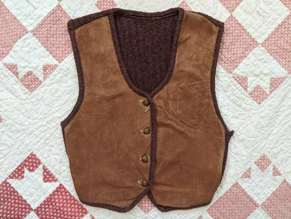 1930's Leather + Knit Sportswear XS Extra Small Vi