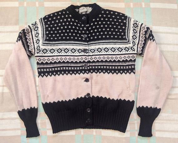 1950's Pink and Black Cardigan M Medium Vintage 19