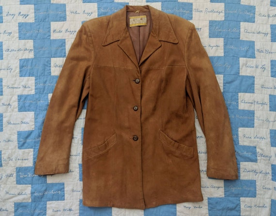 Late 1930's Suede Sport Jacket S Small M Medium Vi