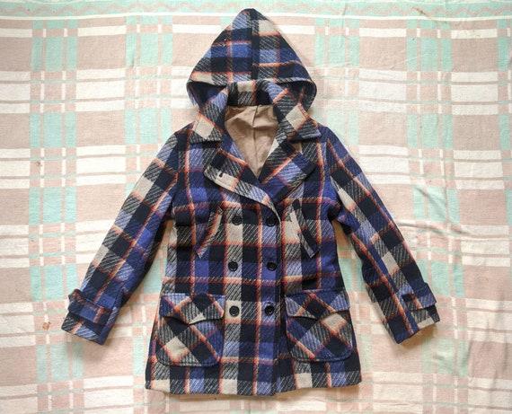 1930's 40's Plaid Wool Hooded Coat XS S Small Vint