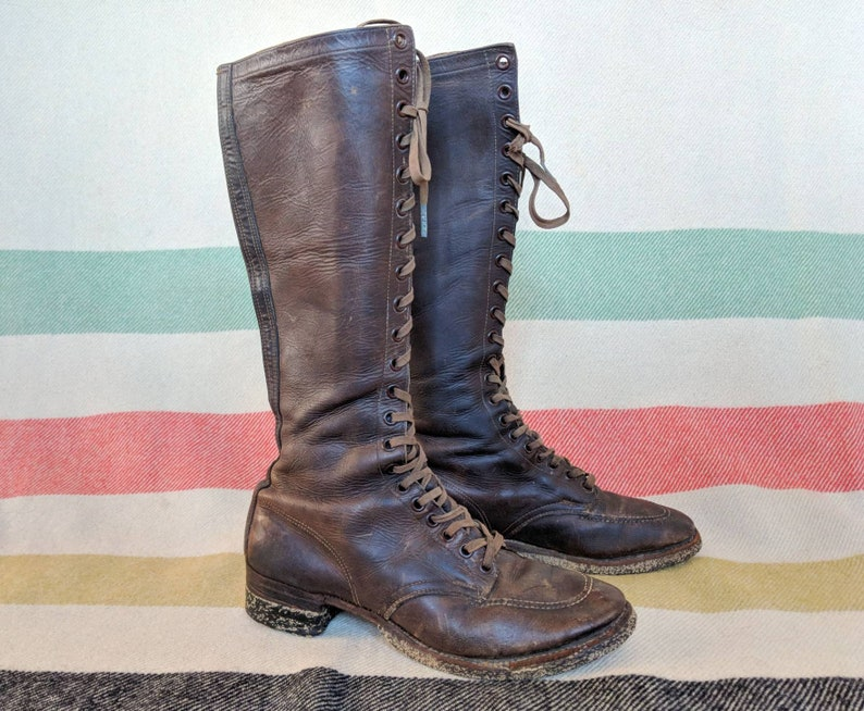 4cb8ee8b715c 1930 s Chippewa Boots 7 7.5 8 Tall Knee Length Leather