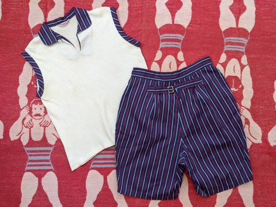 1950's Jantzen 2 Piece Knit Top Shorts Set M Mediu