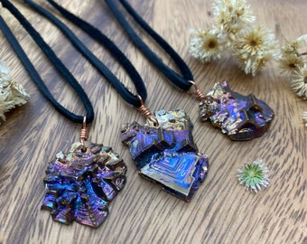 Bismuth Crystal Necklace with Leather or Faux Leather Cord