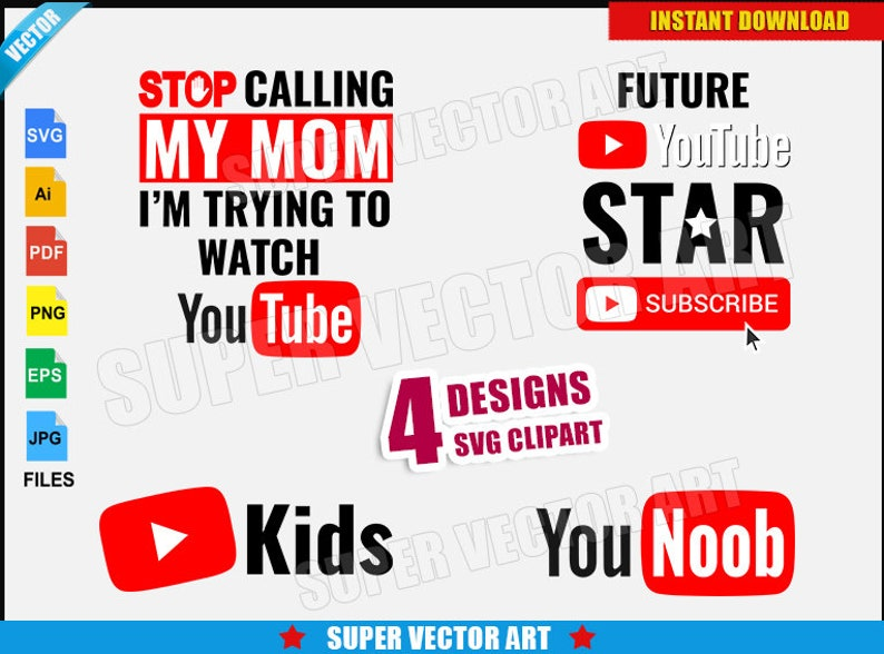 Youtube Logo Vector Clipart (SVG png) Silhouette Play Button File Kids  Cricut T-Shirt Vinyl Decal Funny Family DIY Design Video Star YouNoob