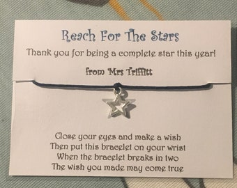 cf93e43ef TEACHER, SCHOOL, CLASS - Summer End of Term Star Wish Bracelet -  Personalised at no extra cost