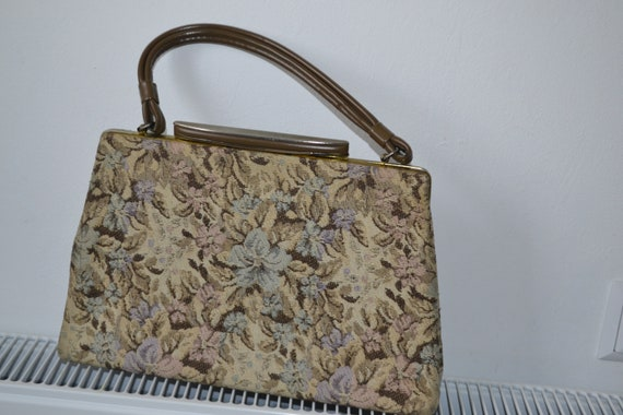 Vintage Tapestry bag , pastel colors