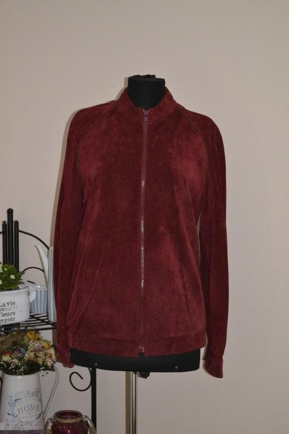 Vintage dark red suede leather jacket