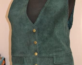 Vintage emerald leather vest