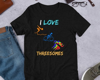 e4e51e1c Triathlon Shirt Funny, I Love Threesomes, Funny Triathlon Shirt, Triathlon, Triathlon  Gift, Triathlon Tee, Triathlon Tshirt, Swim Bike Run