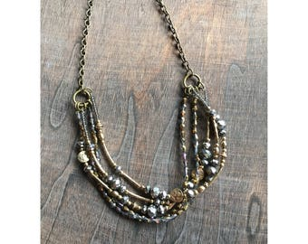 Gold & Pewter Layered Necklace