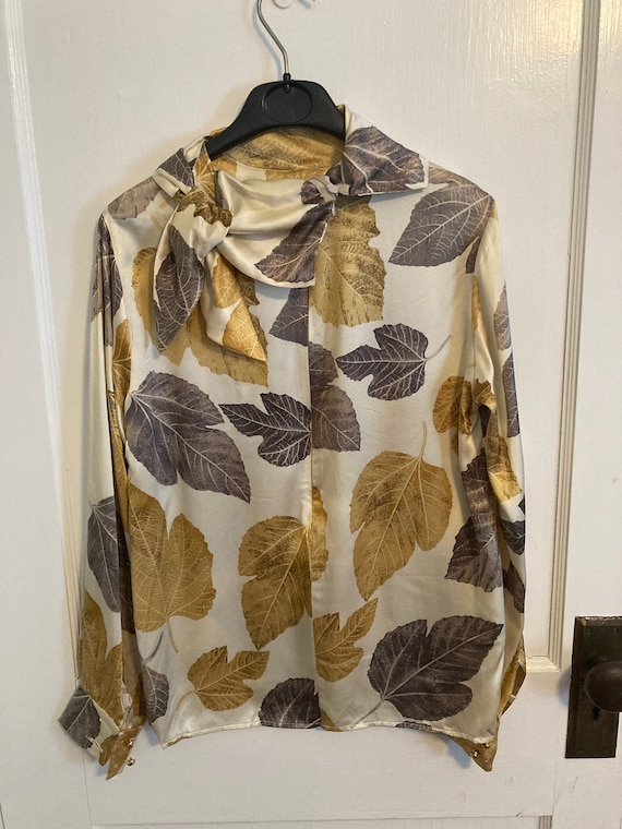Vintage 1960/70s Silk Leaf Print Women's Blouse