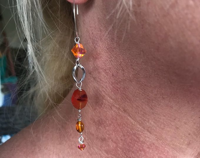 Hammered Ear Wire Carnelian Earrings 925 Sterling Silver Long Gem Earrings Amber Earrings Gemstone Earrings Gemstone Silver Drop