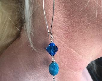 Angelite Earrings, Silver Gem Earrings, Vintage Swarovski, Gemstone Silver Drop, 925 Sterling Silver, Natural Angelite, Large Kidney Wire