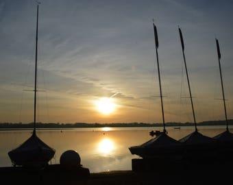 Sailing Photo Sunrise Silhouetted Sailing Dinghies Peaceful  Waldringfield Beach Suffolk