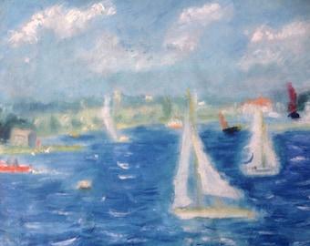 Landscape painting landscape oil painting impressionist painting En Plein Air by the River Deben Woodbridge Suffolk