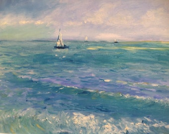 Oil painting landscape painting marine painting seascape painting home decor wall art Seascape oil painting in the style of Vincent Van Gogh