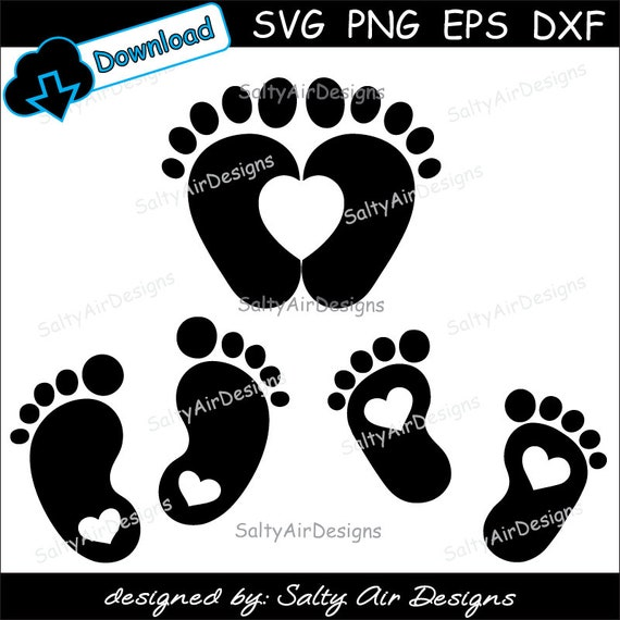 Baby Feet With Hearts Svg Baby Feet Clipart Dxf Baby Feet Png Baby Footprints Eps File Vector Baby Heart Feet Cut Files Footprints