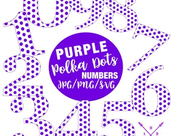 Purple Polka Dot Numbers, Polka Dot Pattern, SVG, Cricut, Silhouette Cameo