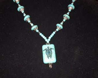 Blue Turtle Necklace