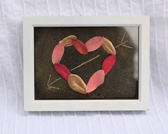 Mother's Day Dried Floral Cupid's Heart in a White Frame