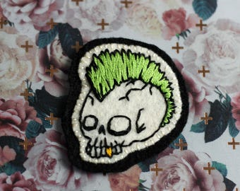 Skull with Mohawk Hand Embroidered Patch