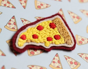 Pepperoni Pizza Hand Embroidered Patch