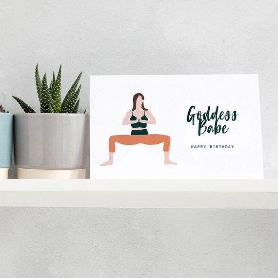 Godess Babe Birthday Card Happy Yoga