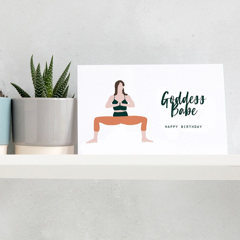 Godess Babe Birthday Card Happy Yoga
