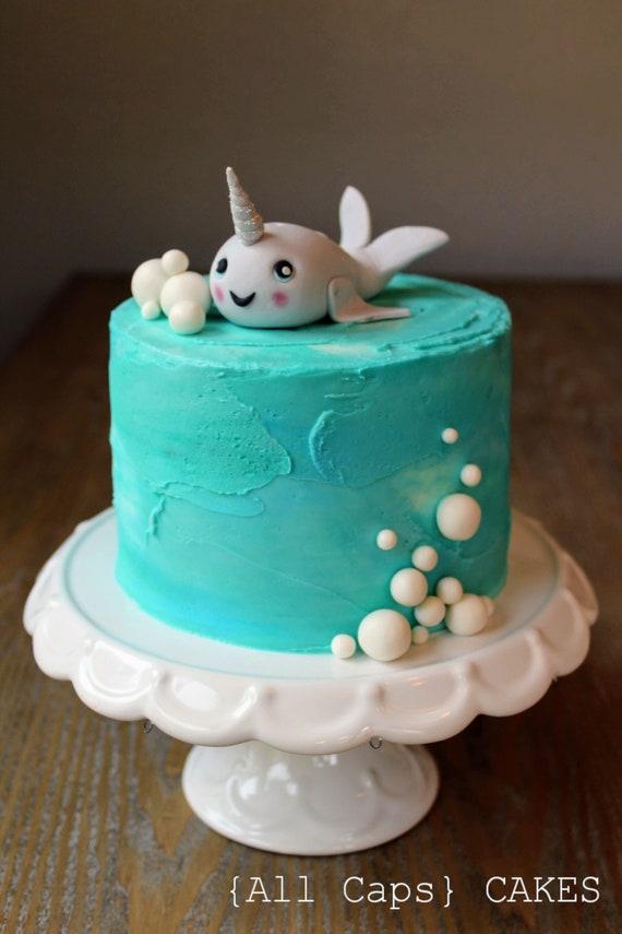 Fondant Narwhal Cake Topper Customize Kawaii Cute Etsy